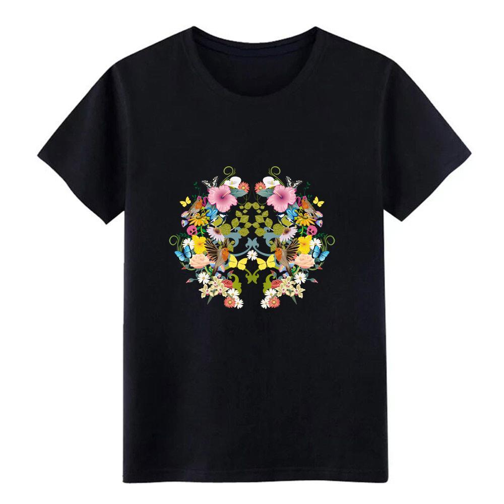 symmetrische Blumen Vögel und Schmetterlinge T-Shirt Männer anpassen aus 100% Baumwolle S-XXXL homme Geschenk Art und Weise Freizeit-Hemd