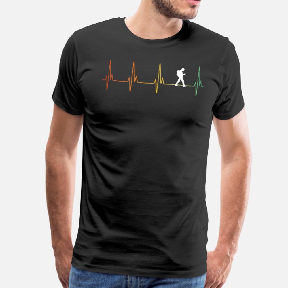 Ретро Геокэшинг Heartbeat тенниска мужчины Designs 100% хлопок плюс размер 3XL Формальное Графический Смешной Summer Style тонкая рубашка