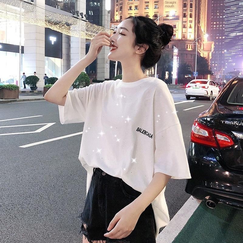 xQGew casaco da mulher Mid-length brilhante de manga curta T-shirt top estilo coreano Harajuku preto estilo todo-match solta T-shirt top estudante moderno Y6