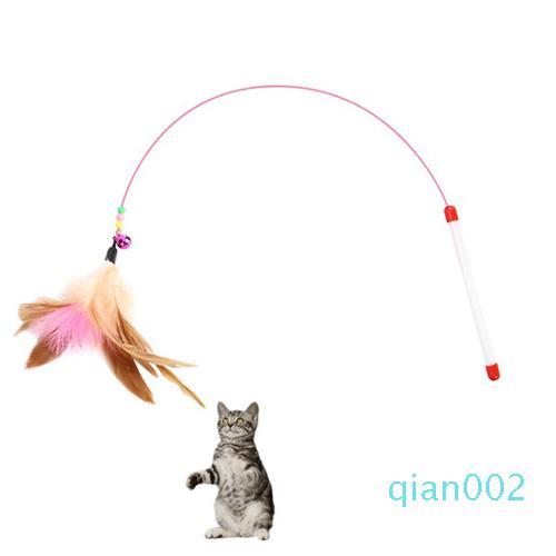 Cat пуховые игрушки Кошки Стик перо Wand с Bell Cat тизер Игрушка Cat Balls мышь Клетка игрушки Пластиковые Искусственное Красочный