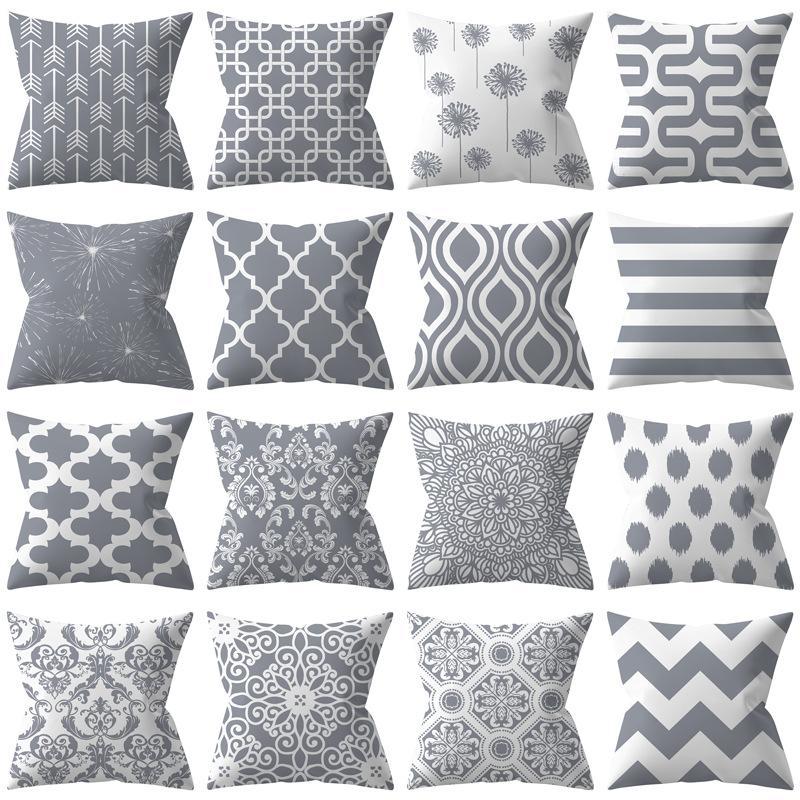 Серой геометрия полиэстер подушка набора лучших продаж серебро диван наволочка подушка набор завод оптовый