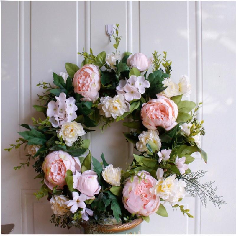 Shallow розовый пион гирлянды поддельной цветок шелк цветок висит декоративная отделка двери украшения стены оптовой Бесплатная доставка