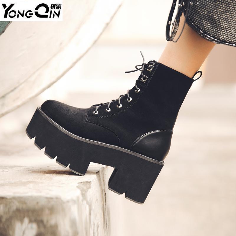Plate-forme talon compensé en daim Ace-up Bottes Casual femmes à haut Chaussures à talons