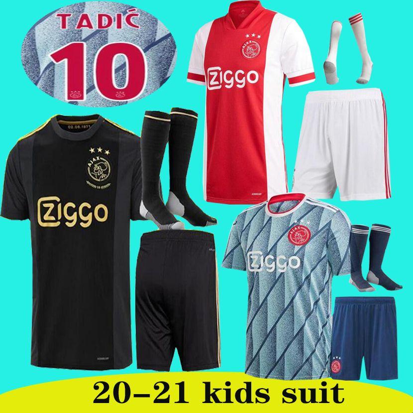 20 21 niños Ajax Inicio camiseta de fútbol 50º PROMES ALVAREZ Ajax 2020 2021 camiseta CONJUNTOS DE CAMISA de futbo van de Beek TADIC ZIYECH FÚTBOL