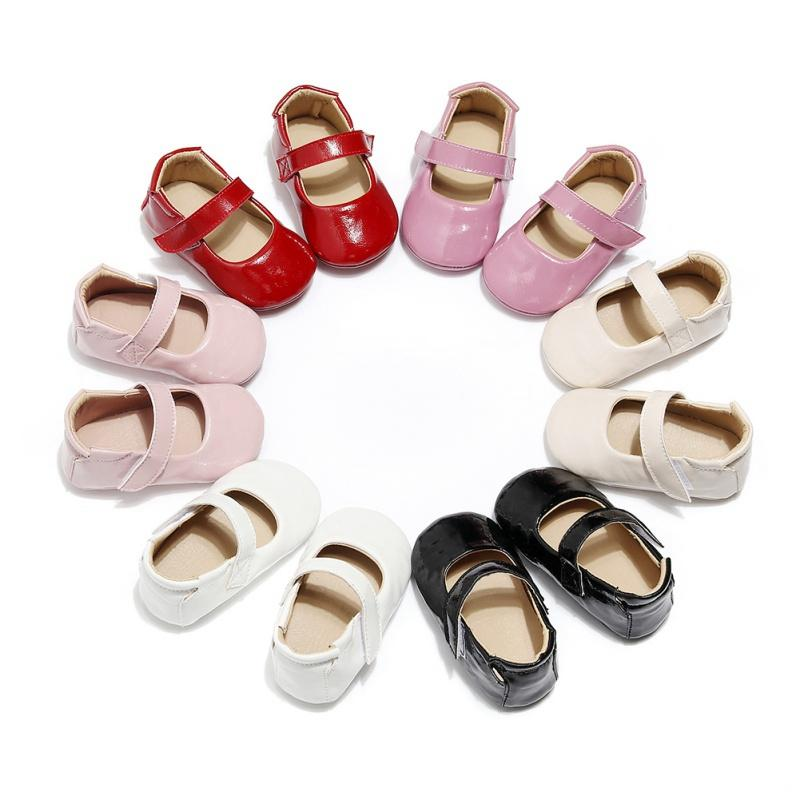 Pattini della neonata NewbornBaby ragazze delicatamente Sole PU pattini della greppia antiscivolo Sneakers neonate della principessa First Walkers