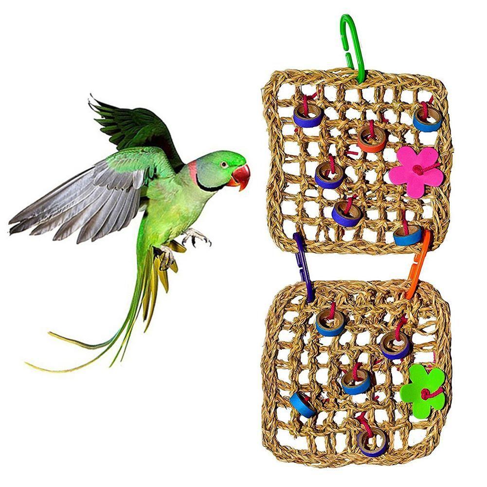 Pássaro Straw malha dupla Net Hanging Escalada Hammock gaiola balanço mordida Toy