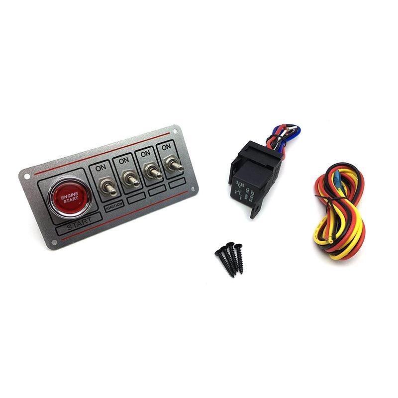 Yarış Araba Motoru Başlat Düğmesi LED Geçiş Switch Gümüş için 12V LED Kontak Anahtarı Paneli