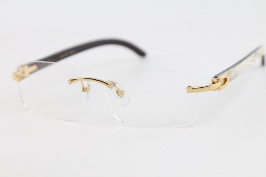 Mejor marco de oro blanco de calidad Dentro de cuerno de búfalo Negro Lentes C Decoración gafas sin montura 8200757 unisex Gafas Tamaño: 56-18-140mm