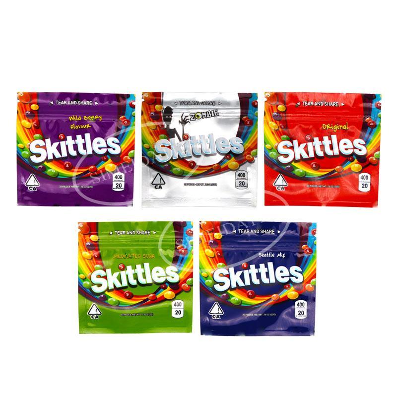 Skittles dos doces Embalagem Bag 400mg Mylar vazio do arco-íris Zipper Embalagem Bag