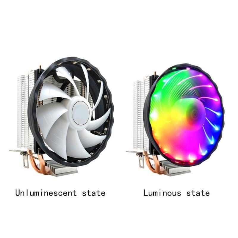 3 Pin Desktop Computer Охлаждение привело Медь Бесшумный 12V CPU Cooler RGB вентилятора Durable 2 Тепловые трубки радиатора для LGA 1155/1151 AMD