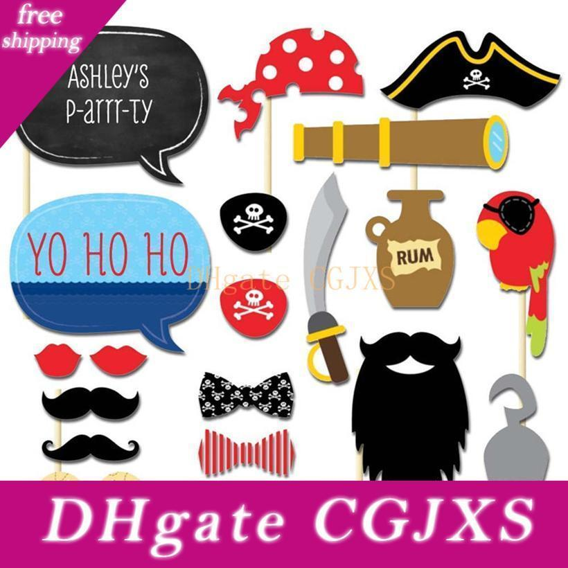 New Design Meidding 20pcs /Set Pirates Styles Photo Booth Props Funny Mustache Glasses Diy Kits Lips Birthday Party Decoration Supplies