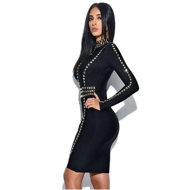 Abiti casual Rivetti Bodycon Bandage Dress Dress Donne Black Estate Mentil Maniche lunghe O Collo Mini celebrità Party Vestidos