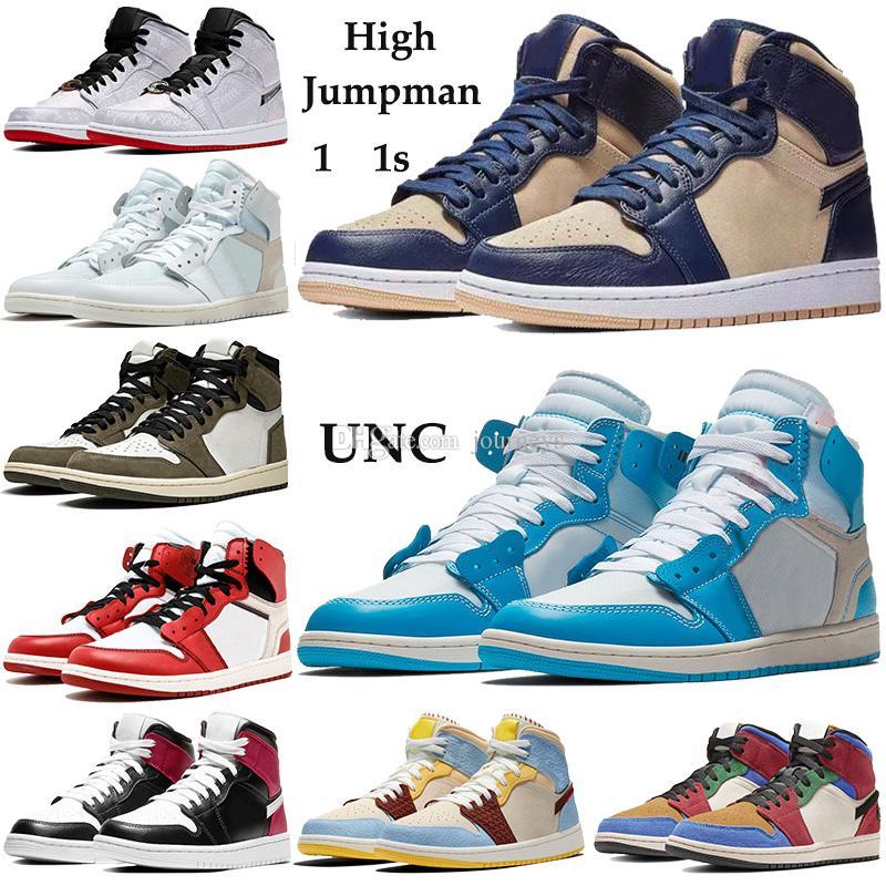 Высокий 1 1s Баскетбол обувь Jumpman UNC синий порошок Чикаго Мужчины Женщины спортивной обуви полночь темно-синий светло-кремовый био-бежевый Тренеров с коробкой