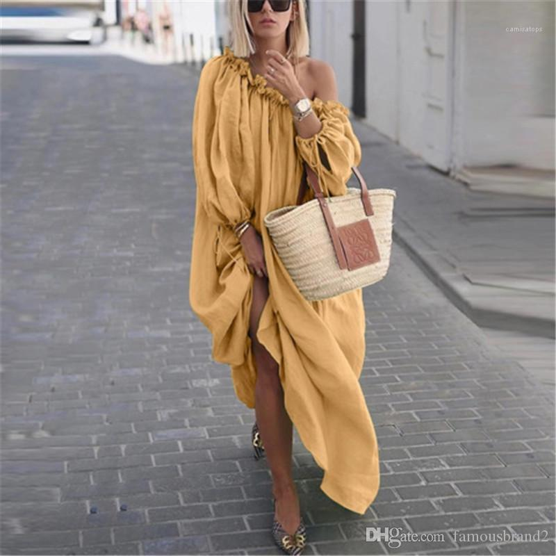 Mode Slash Neck Femmes Solid Color Robes longues Designer Casual Les femmes Vêtements Vêtements pour femmes Robes Graceful