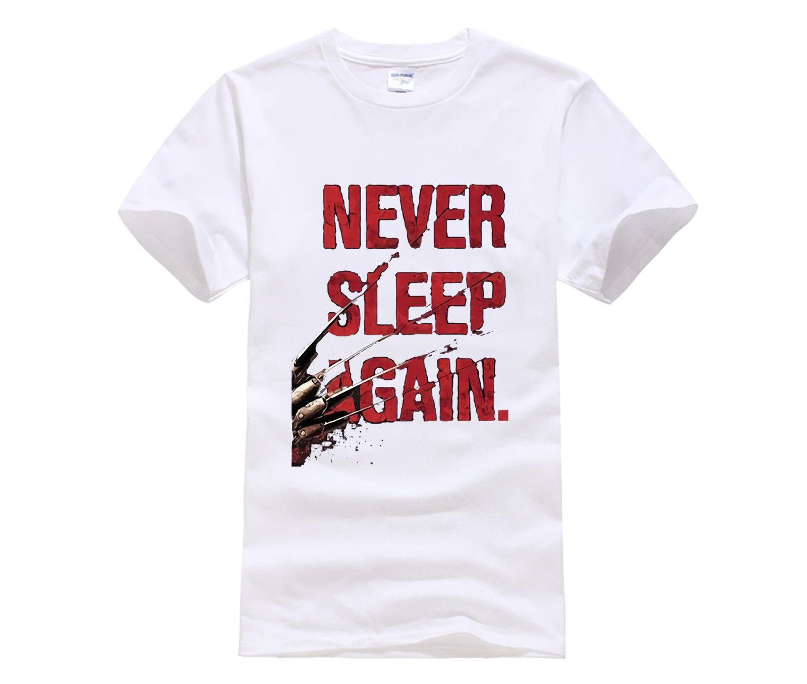 Новая мода Марка Одежда Печать Шею Man Freddy Krueger Never Sleep Again Top Tee 100% хлопок Футболка