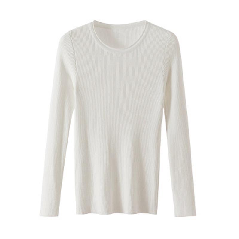 2020 O-collo di nuovo lavorato a maglia Donne Maglione Pullover molla e le signore maglione autunno di base Pullover Slim Fit Nero Moda