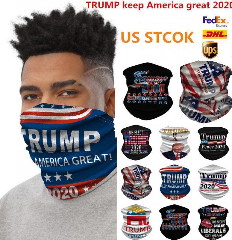 ABD Stok Trump 2020 Bandana Yüz Kalkanı Maskesi Biden Dikişsiz Magic Eşarp Amerika Büyük Bantlar Bisiklet Şapkalar Boyun İçin Parti Maskesi tutun