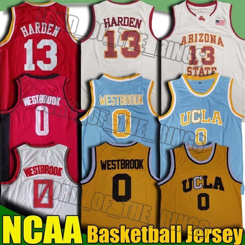 NCAA UCLA de California Russell Westbrook 0 Sun Devils Jersey James Harden 13 Escuela de Baloncesto Hakeem Olajuwon Reggie Miller jerseys