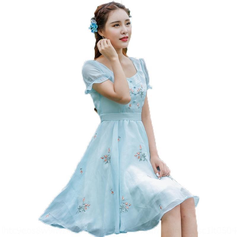 GjGVU och3m женщин в 2020 Летний новый шифон большой рукав вышитые пригонки короткие вышитые платья юбки платье 1059