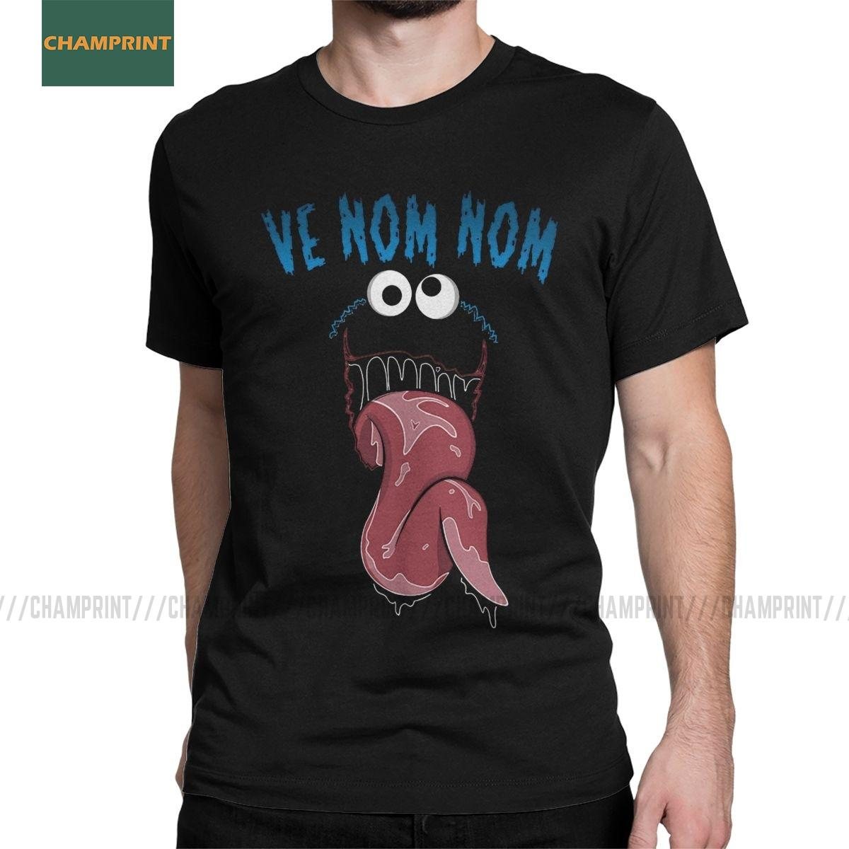 Uomo T-shirt Ve Nom Nom Cookie Monster Umorismo Cotton Tee Shirt manica corta T Shirt O Collo Tops Regalo di compleanno