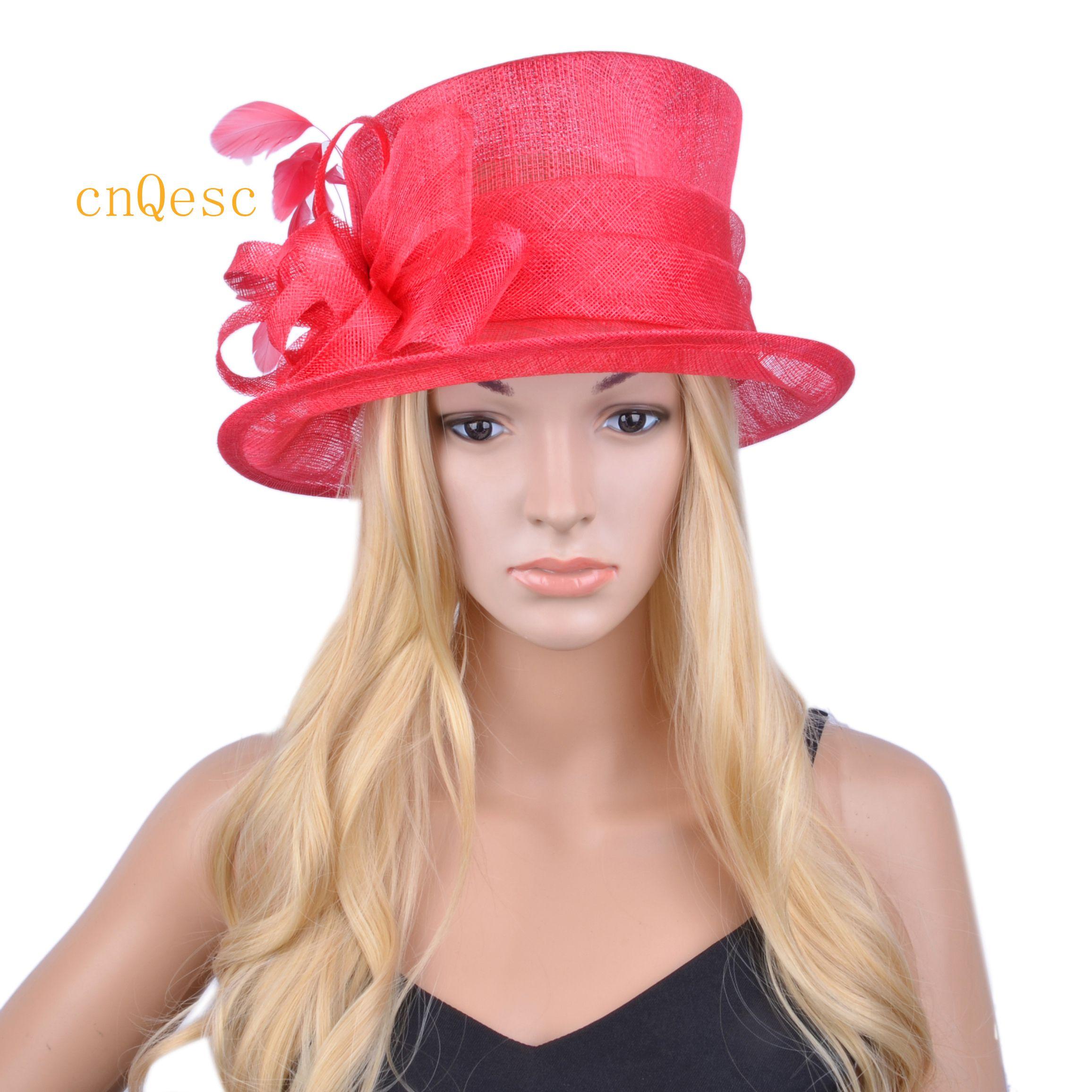 2020 NUOVO ARRIVAL.Red sinamay cappello vestito convenzionale, Kentucky Derby cappello, cappello di nozze.