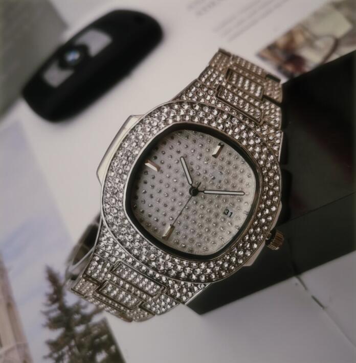 In pieno Stock diamanti in oro orologio strass mens donne del progettista orologi automatici braccialetto orologio