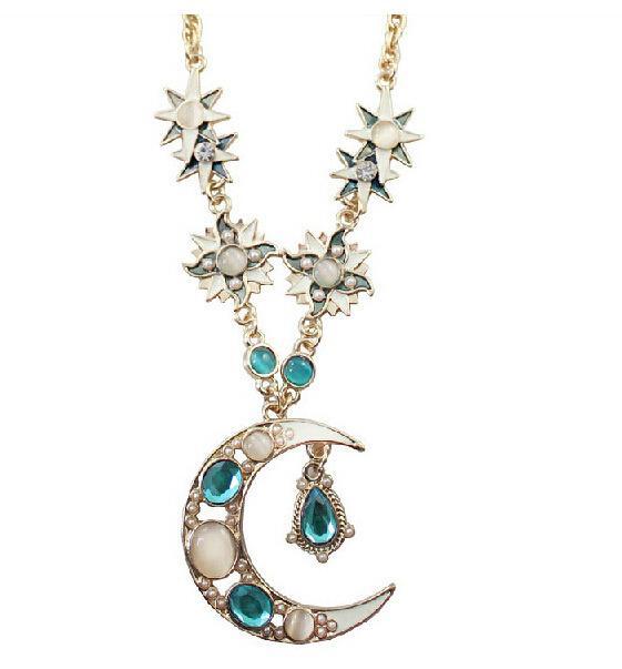 Designer Designs européens et américains New Texture Dieu Soleil Lune Dieu Flash Diamond long Lune Soleil Collier chaîne Pull