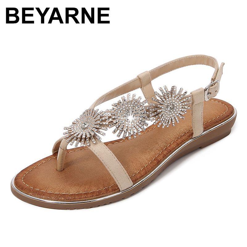 BEYARNESandals femmes sandales d'été de strass bohème de la mode chaussures de plage de loisirs confortable appartement sandales femmes Buty de Damskie