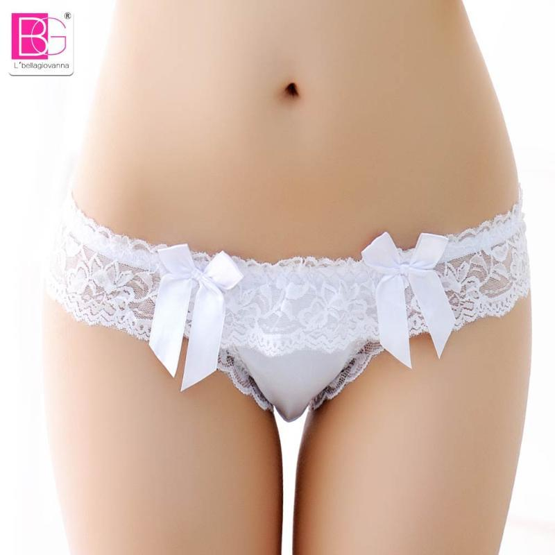 L'bellagiovanna Women's G-string Thongs Sexy Panties Underwear girls Ruffules Lace Tanga Briefs small size Intimates bragas 6043