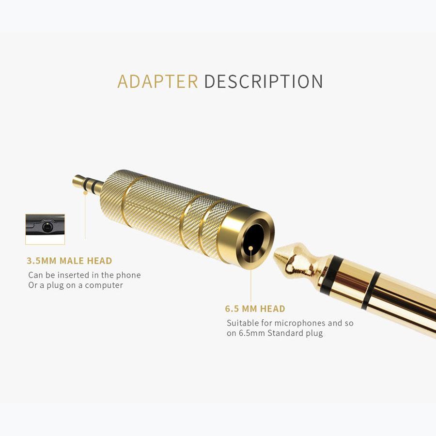 3,5 mm macho a hembra adaptador de 6,5 mm a 6,5 3,5 conector Jack estéreo adaptador de audio para auriculares Micrófono AUX cable convertidor de Oro