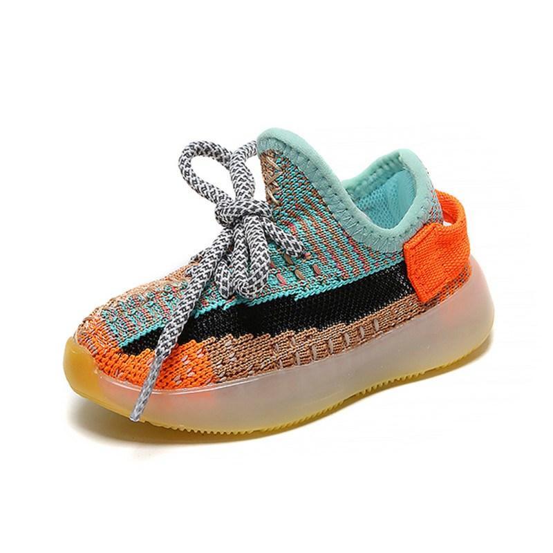 AOGT 2020 Весна Детская обувь Мальчик Девушка Дышащая вязание сетки Малыша Обувь Мода Младенческие Кроссовки Мягкий Удобный ребенок