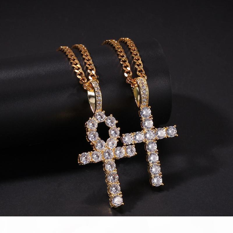 2 en1 plaqué or jaune pleine CZ Pendentif croix Colliers pour Hommes Femmes Hot Hip Hop DJ Collier Bijoux cadeau