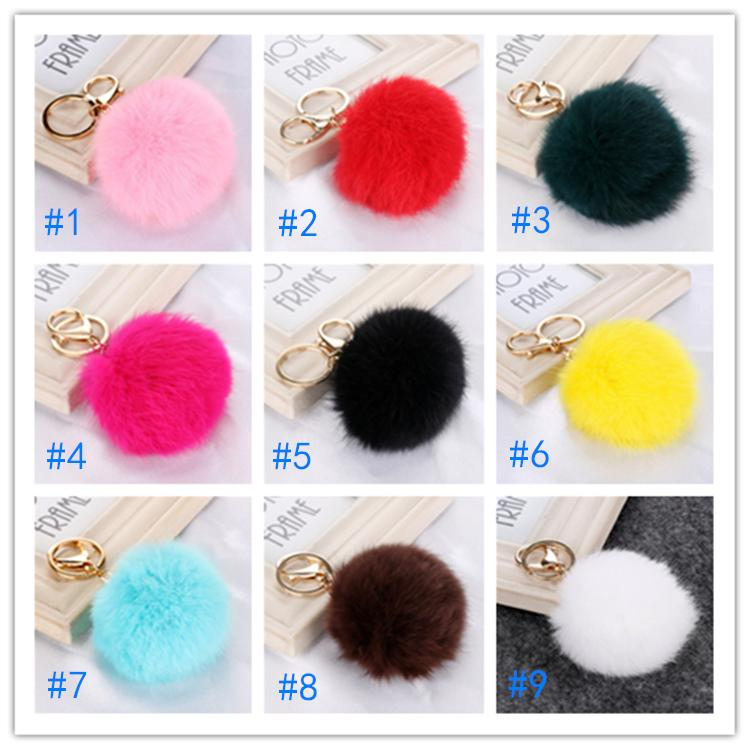Christmas Gift Real Rabbit Fur Ball Plush Fuzzy Fur Key Chain POM POM Keychain Car Bag Keychain Key Ring Pendant Jewelry HN621