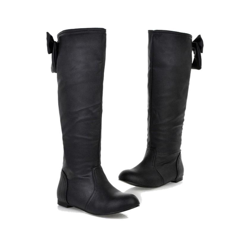 Сапоги осень зима женскиеboot womenwinter удобный бабочка плоский круглый носок бедра высокие ботинки #