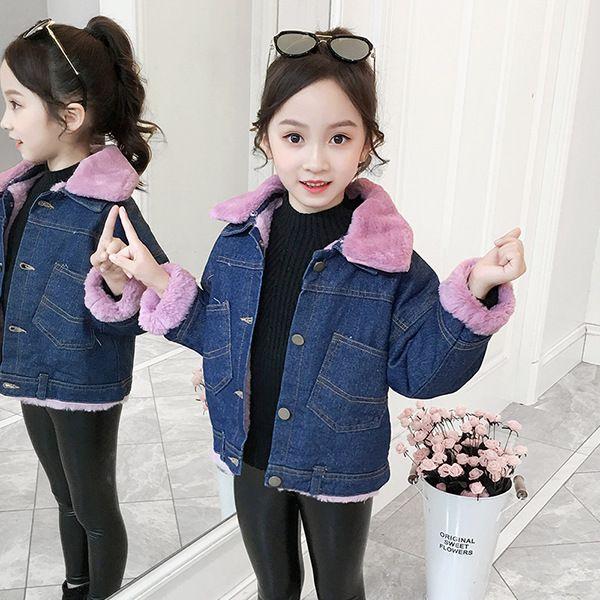 Denim niñas chaquetas para niños ropa de invierno chaquetas para niñas interior de polar Adolescente chaquetas de abrigo ropa de abrigo niños