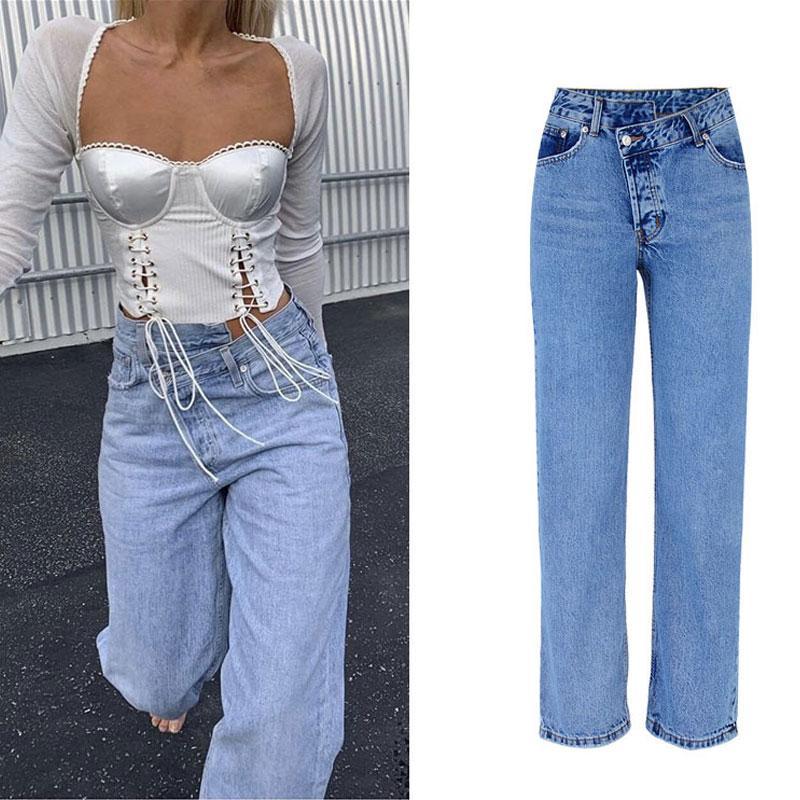 2020 High Waist Jeans Frau beiläufige lose Frauen-Denim-Hosen-gerade Baumwollweinlese Boyfriend Jeans Chic Lange Hose Street