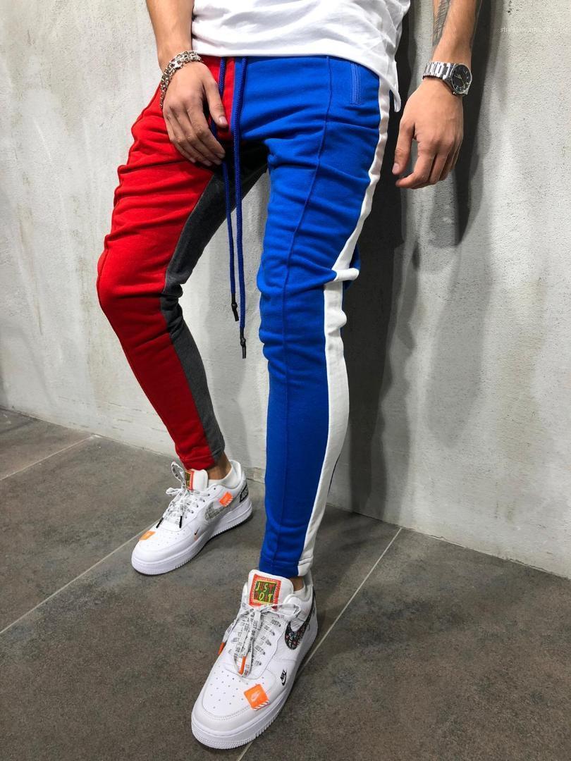 Estilo de HIPHOP del ajustado de los pantalones Colores remiendo Calle Rap baile lápiz de los pantalones de invierno Ropa Hombre