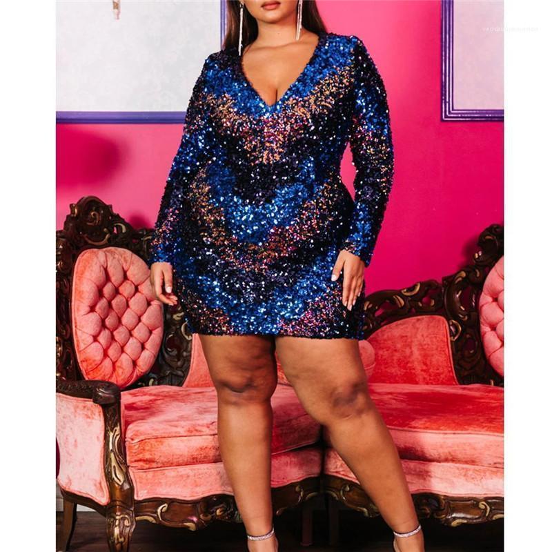 Moda Plus Size Paillettes Panelled progettista delle donne dei vestiti da partito Abbigliamento casual delle donne sexy scollo a V Womens Abiti casual