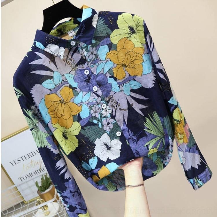 64sD0 90HHJ Große Größe Blumenfrauen langes Hemd 2020 Herbst-Shirt der koreanischen Art lose Neue Blumen Hülse