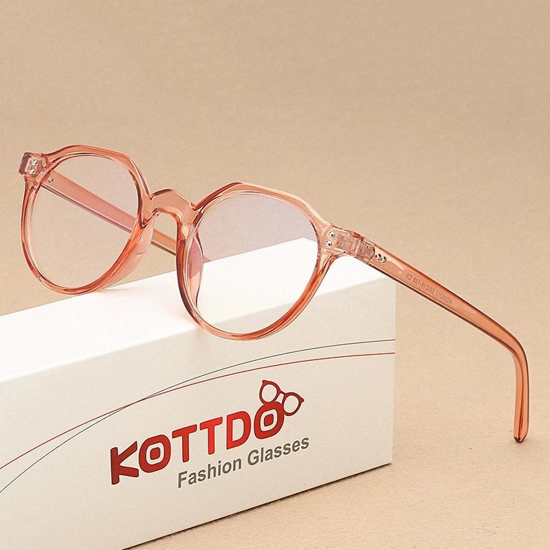 OCCHIALI KOTTDO Classic rotonda miopia per le donne Vintage Anti-azzurro degli occhi Occhiali Frames Uomini qIzU #