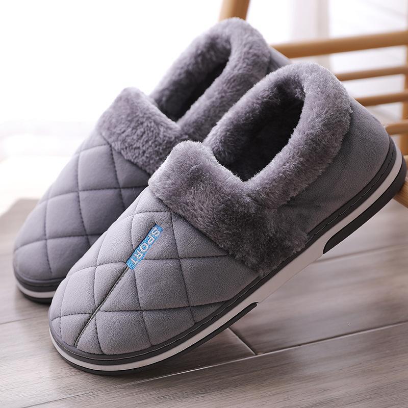 Теплый размер Winter Plus 47 замши плюша Gingham Дом обувь мужчины пены памяти Home Мужские тапочки Мягкая противоскользящие Горячая продажа