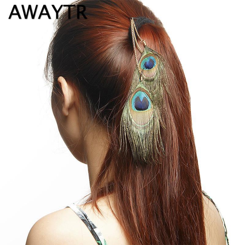 Festival della nuova delle donne della piuma del pavone clip in estensioni dei capelli della piuma di modo dei capelli Plume Cheveux capo Pezzo
