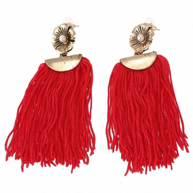 Pearl Beads Fiori nappa lunghi orecchini di modo delle donne di frange di goccia ciondola gli orecchini CXF1 #