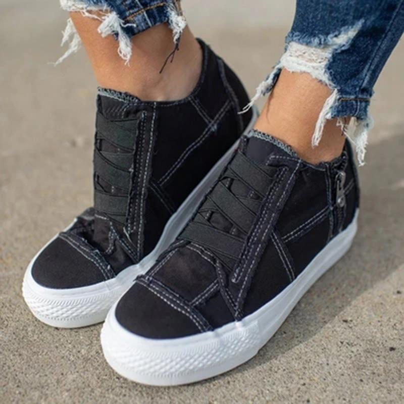 2020 Женщины Удобные Холст Обувь Top Низкая Обувь Повседневная Кружева Кроссовки Клиплины Мода Удобные Прогулки Тренеры Jkjmu