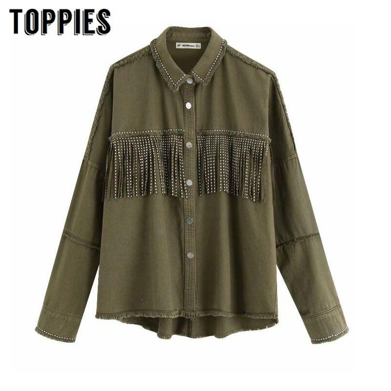 Toppies 2020 Spring tassels for breast Denim Jacket Loose Army Green Button Coat Woman Jeans Jacket Irregular Hem Streetwear LJ200813