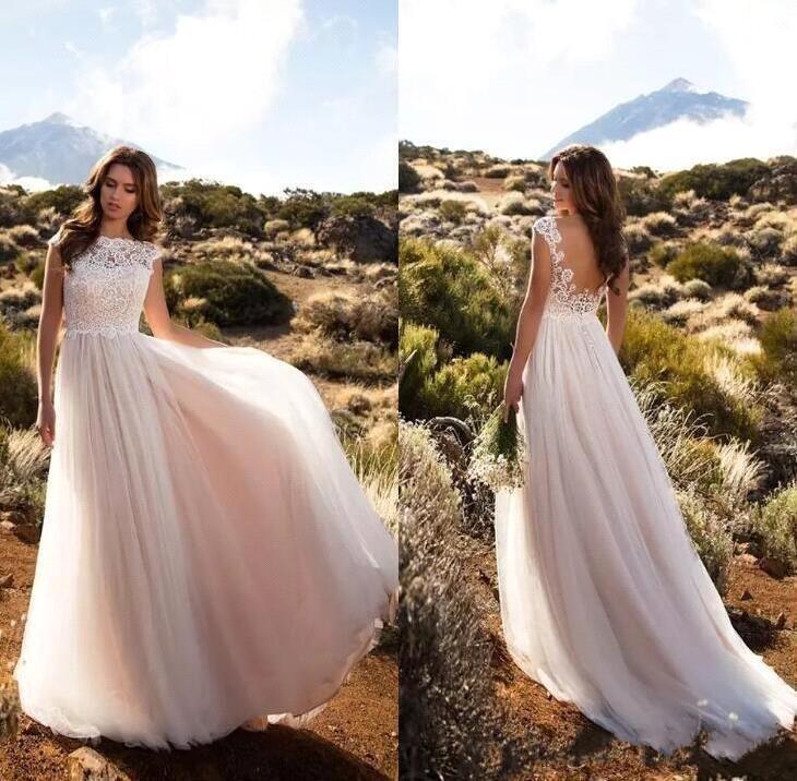 Pink Cap de la vendimia barata País Boho vestidos de encaje Blush mangas una línea de tul de novia Vestidos Backless atractivos vestidos de boda.