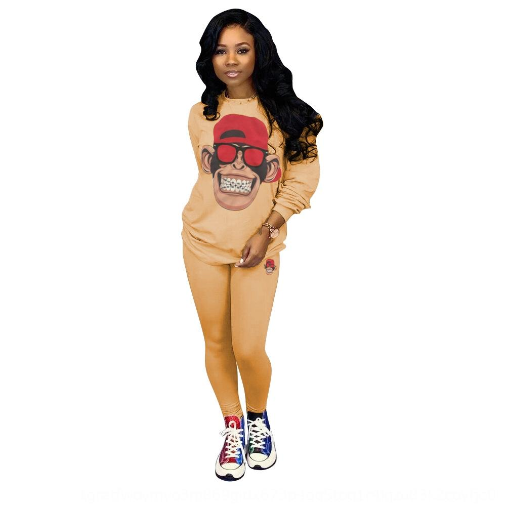 nROBm TS977 new cartoon sports women's color solid decal casual set new two-piece Women's two-piece