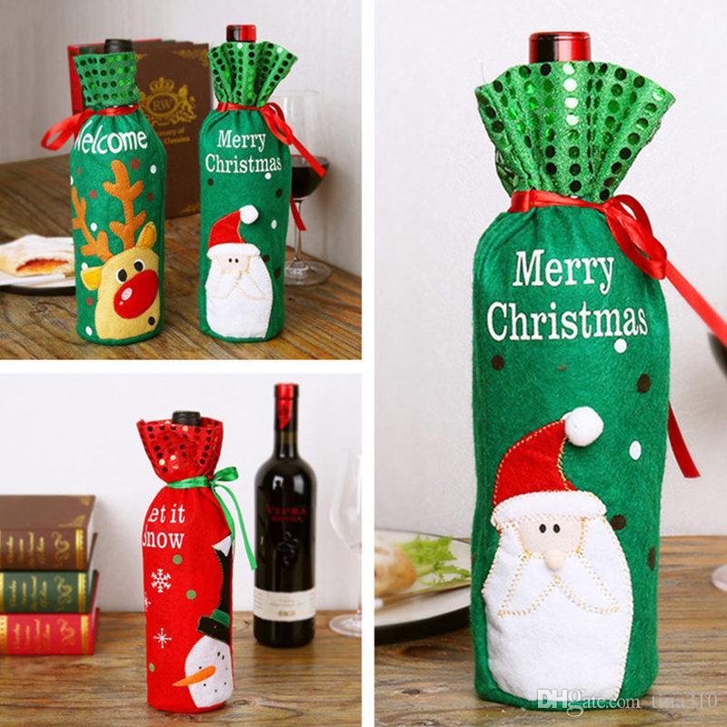 Vinho do Natal Bottle Capa roupa de Papai Noel vestido Xmas Wine Bag Natal Mesa de Jantar Decoração criativa garrafa Tampa 100pcs T1I2343