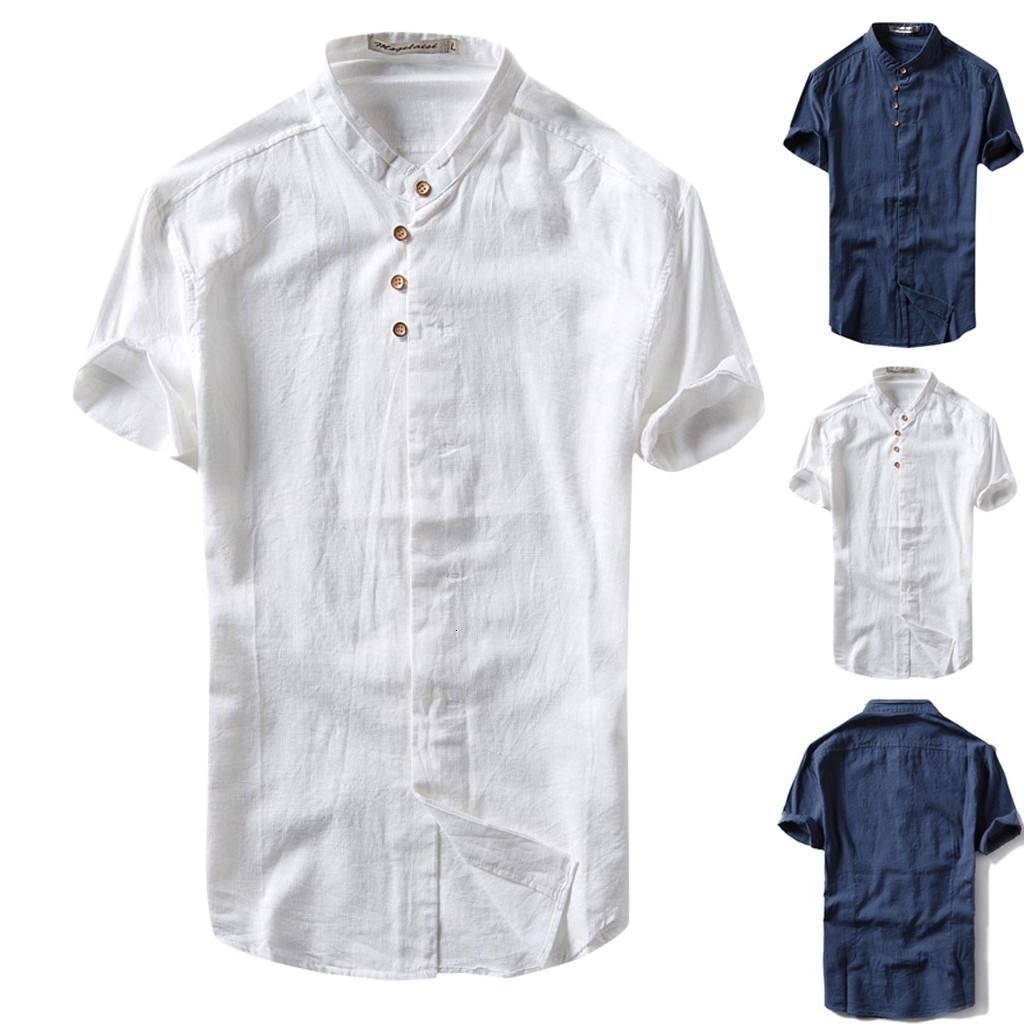 2019 Лето Мужская Причинная рубашка с коротким рукавом Top Button льняной Solid Color Сыпучие Блуза S-2XL гавайская рубашка Камиза masculina