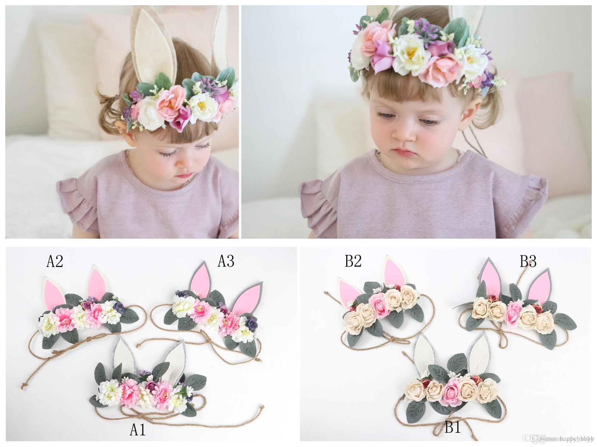 Bohemia del conejo del oído del estilo de Tieback de la venda principal de conejito de la flor de la corona venda del bebé Corona Eater conejito de la playa de vacaciones